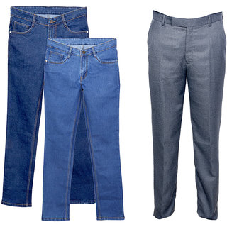 Indiweaves Men's 2 Tullis Denim Jeans and 1 Rayon Formal Trouser (Pack of 2 Jeans and 1 Trouser)_Gray::Blue_Size: 30