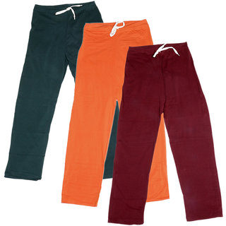 IndiWeaves Women's Stretchable  Premium Cotton Lower/Track Pant(Pack of 3)_Gray::Orange::Maroon_Free Size