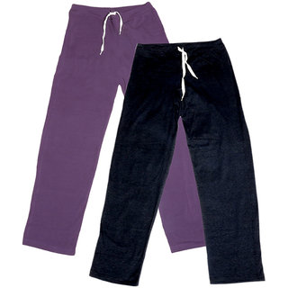 Indistar Women's Stretchable  Premium Cotton Lower/Track Pant(Pack of 2)_Purple::Black_Free Size