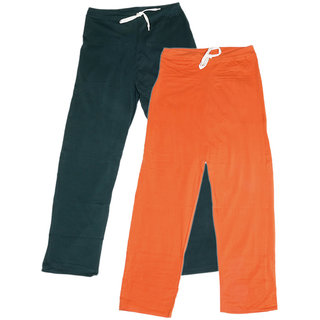 Indistar Women's Stretchable  Premium Cotton Lower/Track Pant(Pack of 2)_Gray::Orange_Free Size