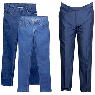 Indiweaves Men's 2 Tullis Denim Jeans and 1 Rayon Formal Trouser (Pack of 2 Jeans and 1 Trouser)_Blue::Blue_Size: 30