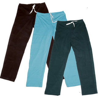 Indistar Women's Stretchable  Premium Cotton Lower/Track Pant(Pack of 3)_Brown::Brown::Blue::Gray_Free Size