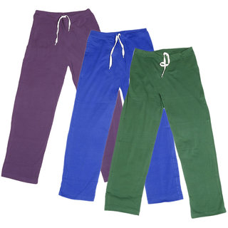 IndiWeaves Women's Stretchable  Premium Cotton Lower/Track Pant(Pack of 3)_Purple::Blue::Green_Free Size