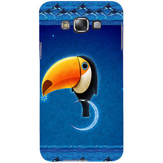 ifasho Bird sitting on moon animated design Back Case Cover for Samsung Galaxy E7