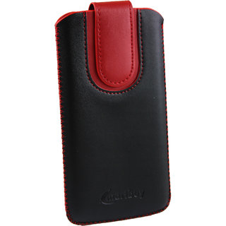 Emartbuy Black / Red Plain Premium PU Leather Slide in Pouch Case Cover Sleeve Holder ( Size LM2 ) With Pull Tab Mechanism Suitable For Prestigio Wize N3