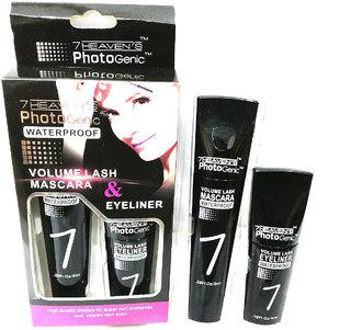 7 Heaven's Waterproof Mascara  Eyeliner Black Color