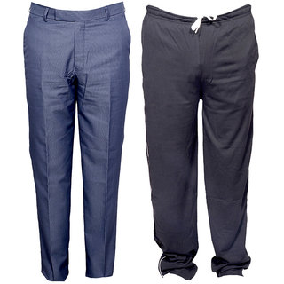 Indiweaves Mens 1 Formal Trouser and 1 Lower/Track Pants Combo Pack (Pack of 2)_Blue::Gray_Trouser Size:30_Lower/Track Pants: Free Size