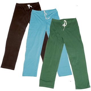 Indistar Women's Stretchable  Premium Cotton Lower/Track Pant(Pack of 3)_Brown::Blue::Green_Free Size