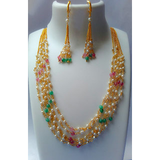 NatureCharm Multistrand pearl chain necklace with Earring.