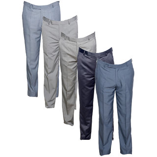 IndiWeaves Men's Rayon Formal Trousers (Pack of 5)_Gray::Gray::Gray::Gray::Gray_Size: 30