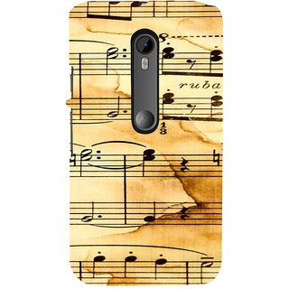 ifasho Animated Pattern design black and white music symbols and lines Back Case Cover for Moto X Force