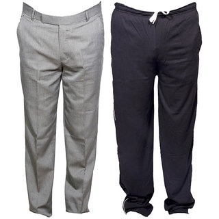 Indiweaves Mens 1 Formal Trouser and 1 Lower/Track Pants Combo Pack (Pack of 2)_Grey::Gray_Trouser Size:30_Lower/Track Pants: Free Size