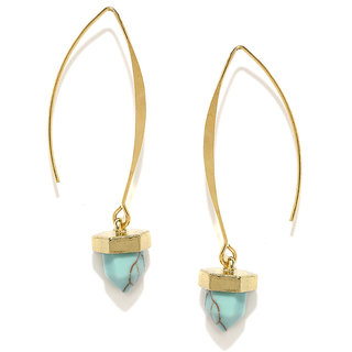 OOMPH's Gold & Turquoise Bead Drop Earrings Jewellery for Women, Girls & Ladies
