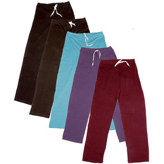 Indistar Women's Stretchable  Premium Cotton Lower/Track Pant(Pack of 5)_Brown::Brown::Brown::Blue::Purple::Maroon_Free Size