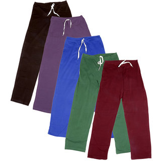 Indistar Women's Stretchable  Premium Cotton Lower/Track Pant(Pack of 5)_Brown::Brown::Purple::Blue::Green::Maroon_Free Size