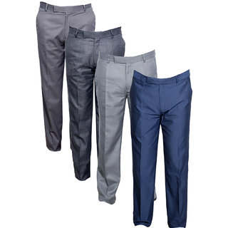 Indistar Men's Rayon Formal Trousers (Pack of 4)_Gray::Blue::Gray::Gray_Size: 30