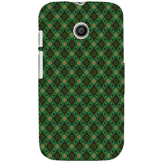 ifasho Pattern green red and black flower design Back Case Cover for MOTO E
