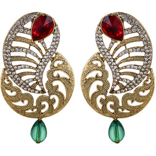Fabula's Gold, Maroon Red & Green Zircon American Diamond AD CZ Crystal Traditional Ethnic Jewellery Kairi Drop Earrings for Women, Girls & Ladies