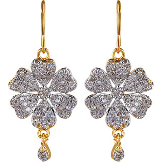 Fabula's Gold & White Zircon American Diamond AD CZ Crystal Rhodium Plated Traditional Ethnic Floral Jewellery Drop Earrings for Women, Girls & Ladies