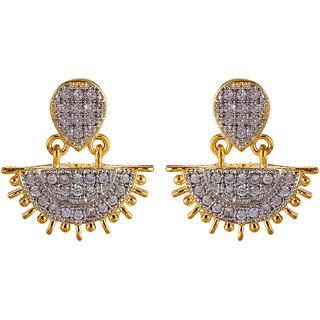 Fabula's Gold & White Zircon American Diamond AD CZ Crystal Rhodium PlatedTraditional Ethnic Jewellery Drop Earrings for Women, Girls & Ladies