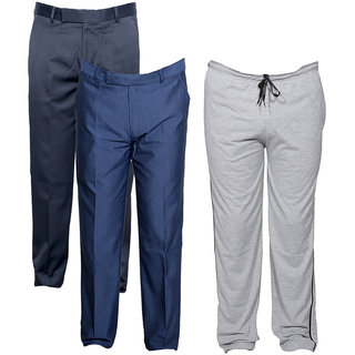 Indiweaves Mens 2 Rayon Formal Trousers and 1 Lower/Track Pant Combo Offer (Pack of 3)_Gray::Blue::Blue_Size: Trouser-38 Track Pant: Free Size