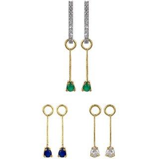 Fabula's Four-in-One Interchangable Gold & Multicolor Zircon American Diamond AD CZ Crystal Rhodium Plated Traditional Ethnic Jewellery Bali Hoop Drop Earrings for Women, Girls & Ladies