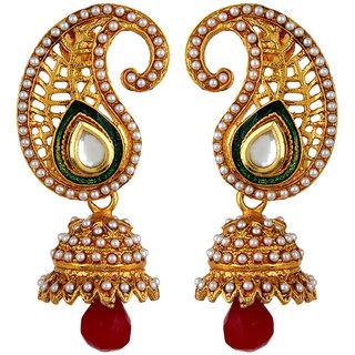 Fabula's Gold, Red, Green & White Zircon American Diamond AD CZ Kundan & Pearl Traditional Ethnic Jewellery Kairi Jhumki Drop Earrings for Women, Girls & Ladies