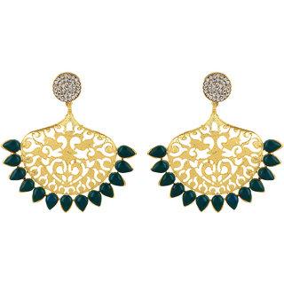 Fabula's Gold & Green Zircon American Diamond AD CZ Filigree Traditional Ethnic Jewellery Drop Earrings for Women, Girls & Ladies