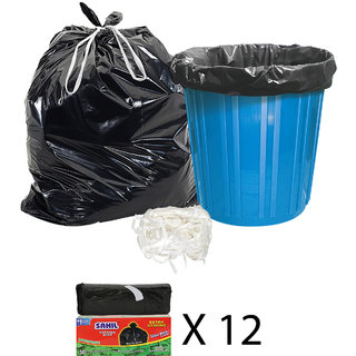 Sahil Pack of 12 Black Biodegradable Tie String Garbage Bags (360 pcs)
