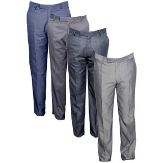 Indiweaves Men's Rayon Formal Trousers (Pack of 4)_Gray::Gray::Gray::Gray_Size: 30