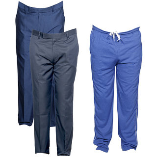 Indiweaves Mens 2 Rayon Formal Trousers and 1 Lower/Track Pant Combo Offer (Pack of 3)_Blue::Blue::Gray_Size: Trouser-38 Track Pant: Free Size