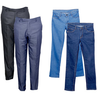 Indiweaves Mens 2 Trousers and 2 Tullis Denim Jeans Combo Offer (Pack of 4)_Blue::Blue::Gray::Gray_Size: 38
