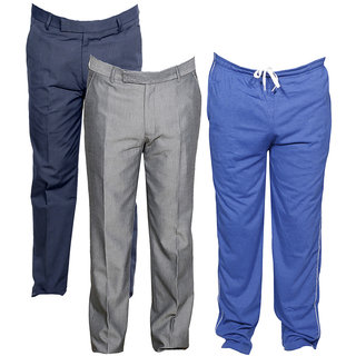 Indiweaves Mens 2 Rayon Formal Trousers and 1 Lower/Track Pant Combo Offer (Pack of 3)_Gray::Blue::Gray_Size: Trouser-38 Track Pant: Free Size