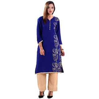 Gurukripa Shopee   Women's Cotton Blue Kurti - 103