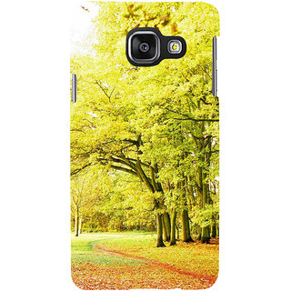 ifasho Green 3Dees with red leaves on the road Back Case Cover for Samsung Galaxy A3 A310 (2016 Edition)