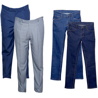 Indiweaves Mens 2 Trousers and 2 Tullis Denim Jeans Combo Offer (Pack of 4)_Blue::Blue::Blue::Gray_Size: 38