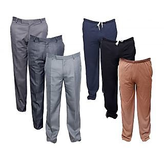 IndiWeaves Mens 3 Rayon Formal Trousers and 3 Lower/Track Pants Combo Offer (Pack of 6)_Blue::Gray::Brown::Grey::Grey::Grey_Size: 38 Lower- Free Size