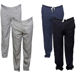 Indiweaves Mens 2 Rayon Formal Trousers and 2 Lower/Track Pants Combo Offer (Pack of 4)_Gray::Gray::Blue::Gray_Size: 38 Lower- Free Size
