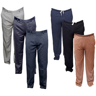 IndiWeaves Mens 3 Rayon Formal Trousers and 3 Lower/Track Pants Combo Offer (Pack of 6)_Blue::Gray::Brown::Gray::Gray::Gray_Size: 38 Lower- Free Size