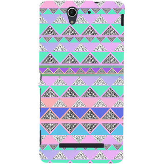 ifasho multi color 3Diangular Pattern Back Case Cover for Sony Xperia C3 Dual