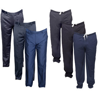 IndiWeaves Mens 3 Rayon Formal Trousers and 3 Lower/Track Pants Combo Offer (Pack of 6)_Black::Black::Blue::Gray::Gray::Blue_Size: 38 Lower- Free Size