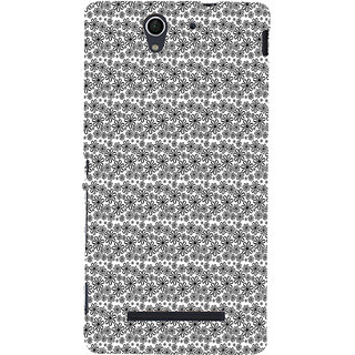 ifasho Animated Pattern black and white flower Back Case Cover for Sony Xperia C3 Dual