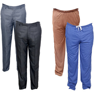 Indiweaves Mens 2 Rayon Formal Trousers and 2 Lower/Track Pants Combo Offer (Pack of 4)_Gray::Gray::Brown::Blue_Size: 38 Lower- Free Size