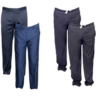 Indiweaves Mens 2 Rayon Formal Trousers and 2 Lower/Track Pants Combo Offer (Pack of 4)_Gray::Blue::Gray::Black_Size: 38 Lower- Free Size