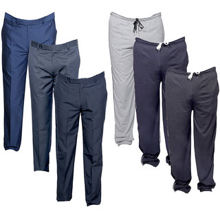 IndiWeaves Mens 3 Rayon Formal Trousers and 3 Lower/Track Pants Combo Offer (Pack of 6)_Gray::Gray::Black::Blue::Gray::Gray_Size: 38 Lower- Free Size