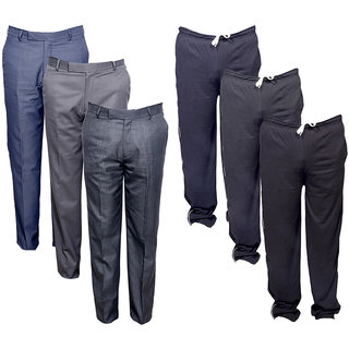 IndiWeaves Mens 3 Rayon Formal Trousers and 3 Lower/Track Pants Combo Offer (Pack of 6)_Gray::Black::Black::Blue::Grey::Grey_Size: 38 Lower- Free Size