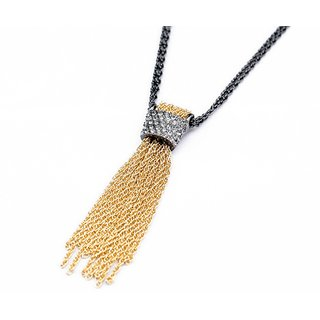 OOMPH's Gold, Black & White Crystal Tassel Fashion Jewellery Pendant Necklace for Women, Girls & Ladies