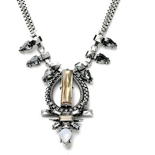 OOMPH's Silver, Black & White Crystal Fashion Jewellery Necklace for Women, Girls & Ladies