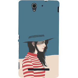 ifasho Girl with Blue Cap and Red s3Dip skirt Back Case Cover for Sony Xperia C3 Dual