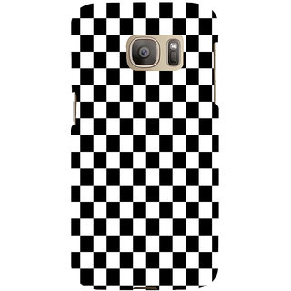 ifasho Squre and Checks In black and white Pattern Back Case Cover for Samsung Galaxy S7 Edge